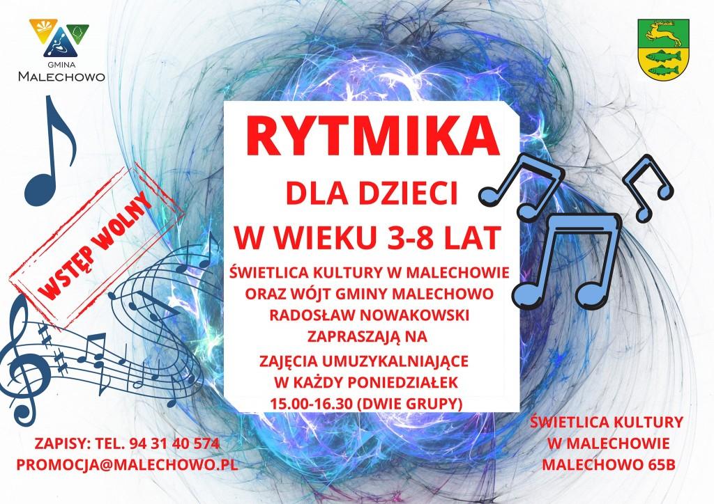 Zdjęcie przedstawia plakat - zaproszenie Świetlicy Kultury w Malechowie i Wójta Gminy Malechowo Radosława Nowakowskiego na zajęcia umuzykalniające dla dzieci w wieku 3 - 8 lat