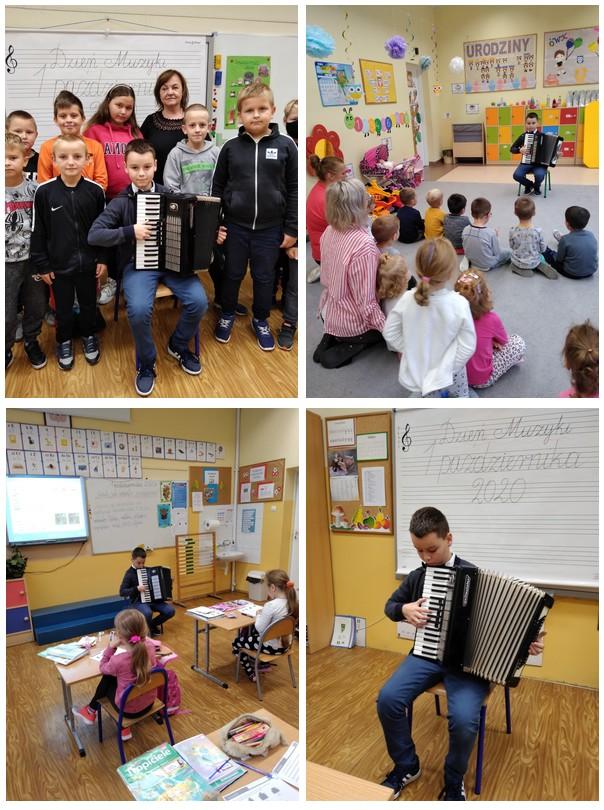 Uczeń grający dla swoich koleżanek i kolegów na akordeonie