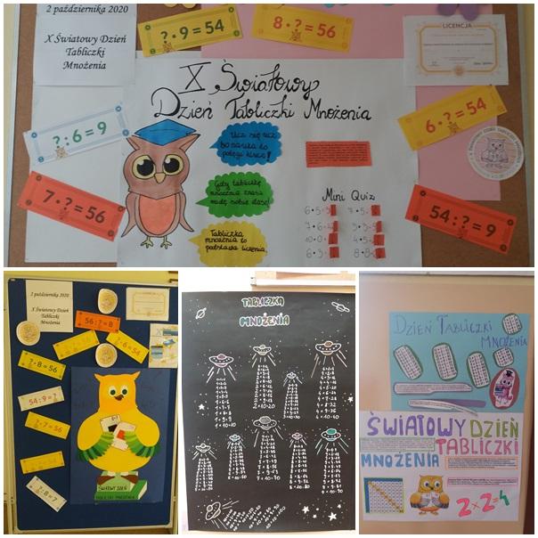 Światowy Dzień Tabliczki Mnożenia. Gazetka ścienna i pięć ozdobnych plakatów przedstawiających tabliczkę mnożenia
