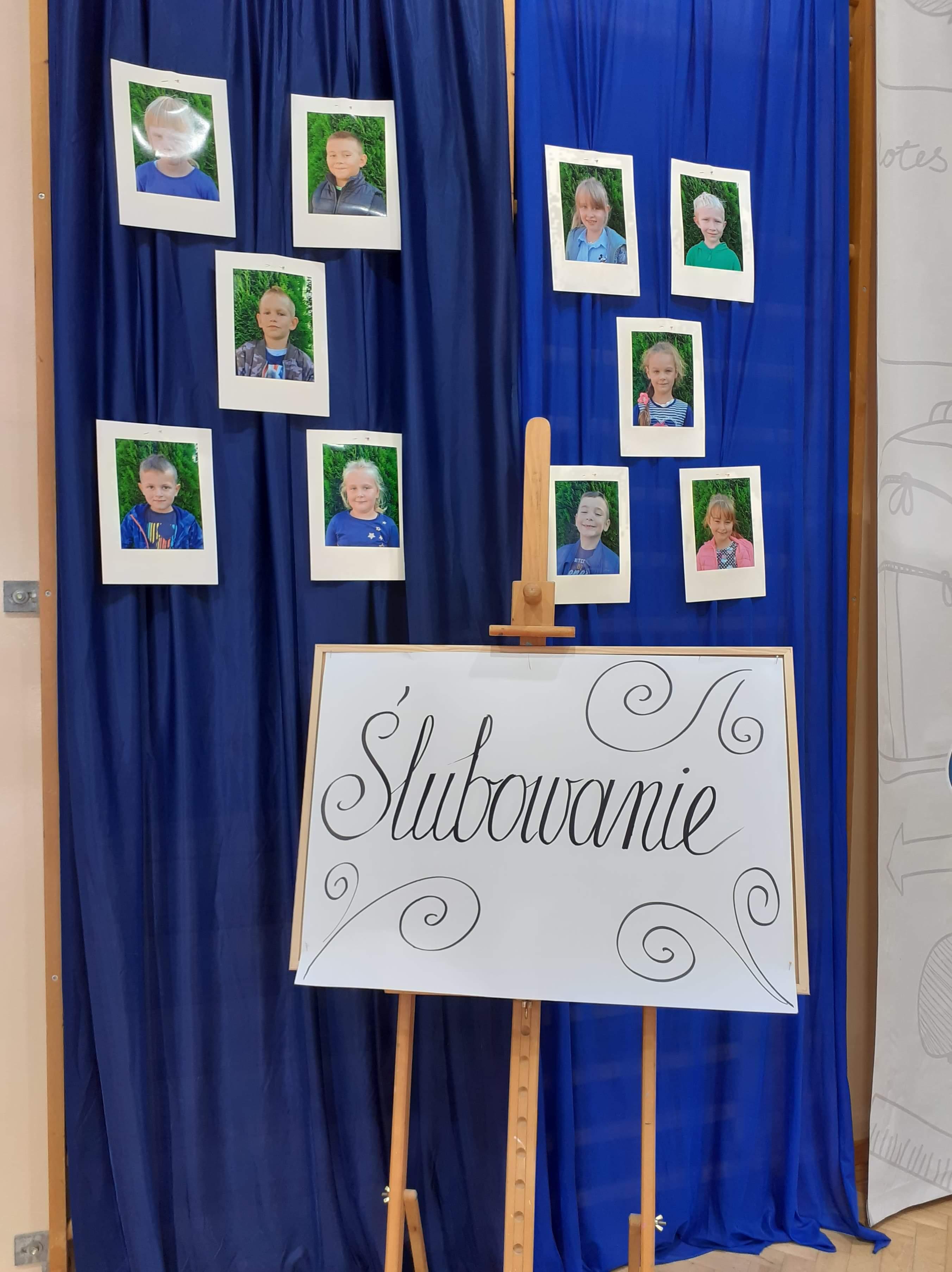 1. Napis ŚLUBOWANIE i zdjęcia uczniów klasy pierwszej