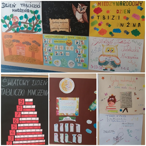Światowy Dzień Tabliczki Mnożenia. 10 ozdobnych plakatów wykonanych przez uczniów klas IV-VIII przedstawiających tabliczkę mnożenia