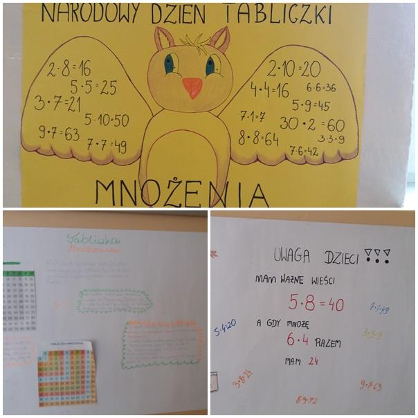 Światowy Dzień Tabliczki Mnożenia. 3 ozdobne plakaty wykonanych przez uczniów klas IV-VIII przedstawiających tabliczkę mnożenia