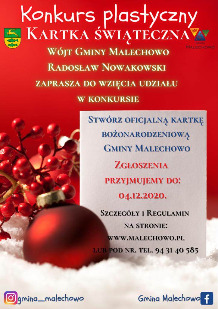 zdjęcie przedstawia plakat informujący o konkursie plastycznym na kartkę świąteczną