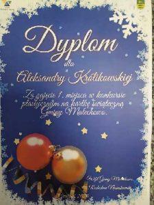 Dyplom dla Aleksandry Królikowskiej