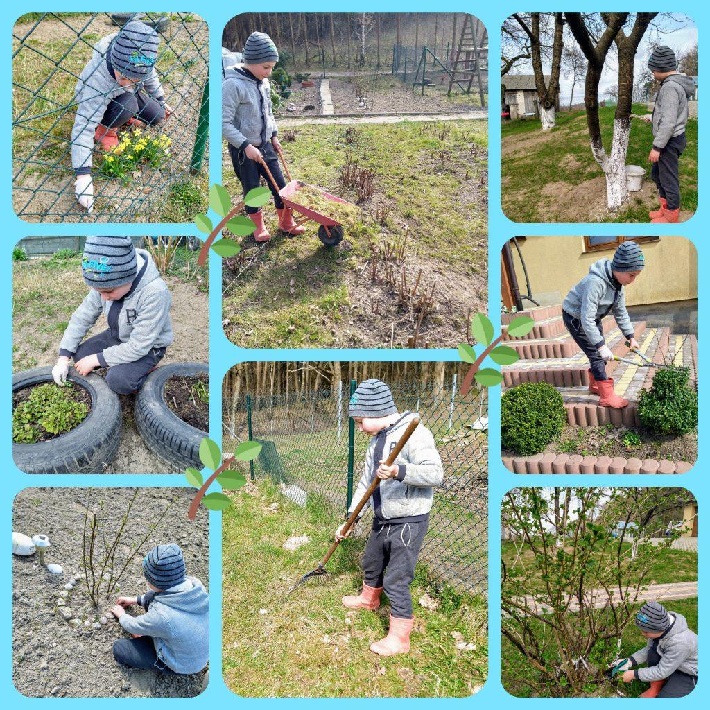Uczeń klasy drugiej podczas pracy w ogrodzie