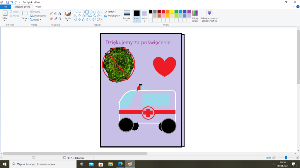 Kartka zaprojektowana przez uczennicę klasy piątej